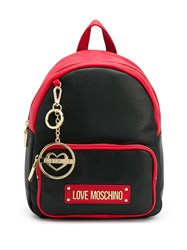 Love Moschino Logo Plaque Backpack Black