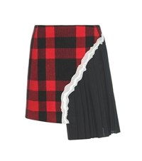 Maison Martin Margiela Wool Blend Plaid Skirt Red