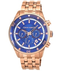 Vince Camuto Men's Rose Gold Tone Stainless Steel Bracelet Watch 45Mm Vc 1044Blrg