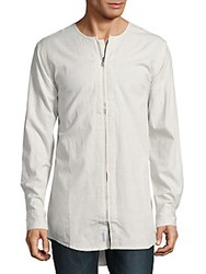 Publish Zip Front Cotton Shirt Ash Heather