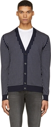 Alexander Mcqueen Navy And White Polka Dot Cardigan