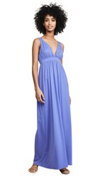 Susana Monaco Gathered Plunge Front Maxi Dress Aster