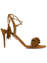 Aquazzura Wild Thing Mid Heel Sandals Brown