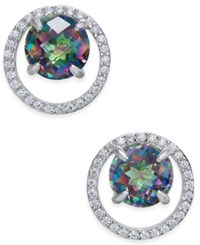 Macy's Mystic Topaz 1 3 4 Ct. T.W. And Diamond 1 6 Ct. T.W. Circle Stud Earrings In Sterling Silver Multi