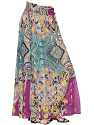 Etro Printed Silk Georgette And Lurex Skirt