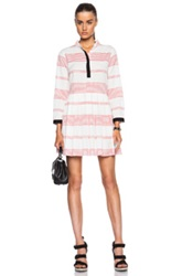 Band Of Outsiders Rio Barre Stripe Shirt Dress In White Red Stripes