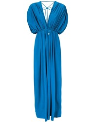 Fisico Gathered Tied Gown Blue