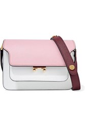 Marni Trunk Small Color Block Textured Leather Shoulder Bag Baby Pink