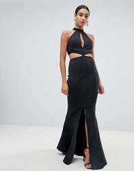Missguided Cut Out Fishtail Maxi Dress Black