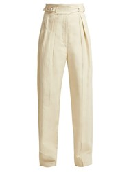 Christophe Lemaire Cotton And Linen Blend Cargo Trousers Cream