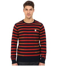 Bench Stagger Crew Neck Knit Total Eclipse Men's Clothing Navy
