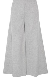 Theory Henriet Cropped Brushed Wool And Cashmere Blend Wide Leg Pants Gray