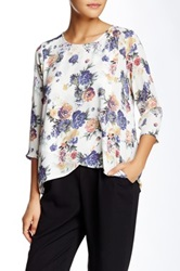 Lush 3 4 Length Sleeve Front Fly Away Blouse Multi