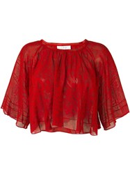 Iro Cropped Lace Blouse Red