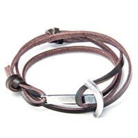 Anchor And Crew Leather Silver Clipper Bracelet