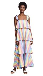 Mds Stripes Tiered Cami Dress Multi Stripe