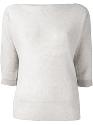 Armani Jeans Cropped Sleeves Sweater Women Polyester Viscose 46 Nude Neutrals