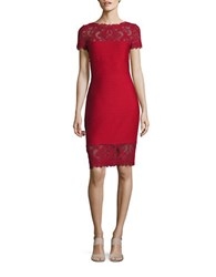 Tadashi Shoji Short Sleeve Embroidered Lace Accented Sheath Dress Deep Red