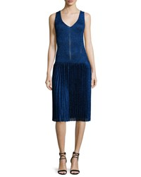 Christopher Kane Sleeveless Metallic Pleated Dress Navy