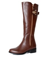 Alice And You Zip Up Knee High Boot Brown