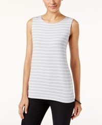 Alfani Prima Striped Tank Top Only At Macy's Grey White