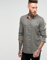 Asos Viscose Shirt In Khaki In Regular Fit Khaki Green