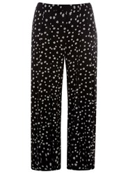 Evans Plus Size Daisy Print Wide Leg Trousers Black