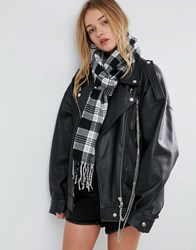 Asos Long Woven Mono Check Scarf With Tassels Black White Multi