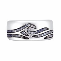 Lmj Breaking Waves Stone Band Ring Blue Silver