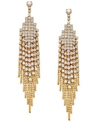 Charter Club Gold Tone Crystal Pave Swing Chain Drop Earrings Only At Macy's