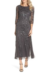 Pisarro Nights Embellished Mesh Gown New Ash