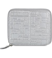 Comme Des Garcons Square Embossed Leather Wallet Silver Emb