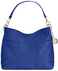Tommy Hilfiger Th Signature Leather Small Hobo Cobalt