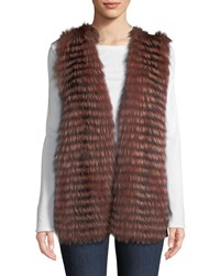 Neiman Marcus Luxury Cashmere Vest W Fox Fur Collar Charcoal