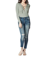 Guess Lace Up Front Long Sleeve Top Green