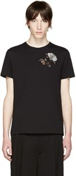 Alexander Mcqueen Black Embroidered Floral T Shirt
