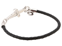 Cesare Paciotti Braided Black Leather Bracelet Jpbr0590b