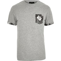 River Island Mens Grey Floral Print Pocket T Shirt