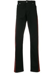 Alexander Mcqueen Striped Straight Jeans Cotton Spandex Elastane Black