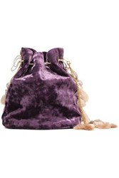 Kayu Nicolette Tasseled Crushed Velvet Clutch Purple