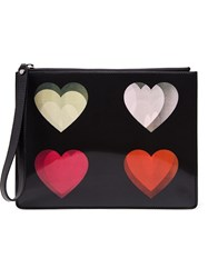 Christopher Kane Four Heartsh Holographic Clutch Black