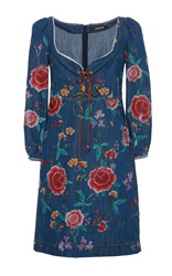 Roberto Cavalli Embroidered Lace0up Denim Dress Blue