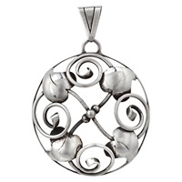 Sharon Mills Vintage 1940S Silver Swirl Pendant Silver