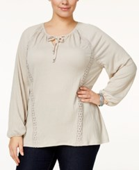Styleandco. Style Co. Plus Size Lace Trimmed Bishop Sleeve Peasant Top Only At Macy's Stonewall
