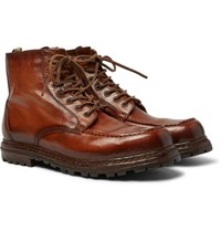 Officine Creative Fleece Lined Burnished Leather Boots Brown