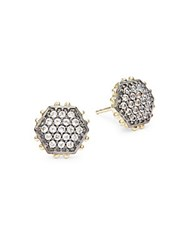Alanna Bess Crystal And 18K Gold Vermeil Earrings Gold Silver