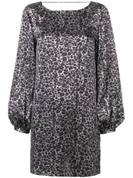 Equipment Zipporah Leopard Print Dress Grey