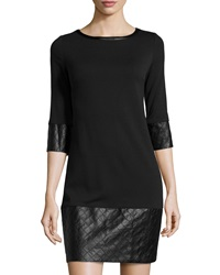 Laundry By Shelli Segal Faux Leather Trim 3 4 Sleeve Dress Black