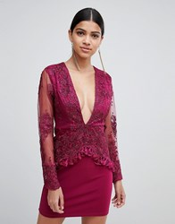 Love Triangle Long Sleeve Embroidered Lace Dress With Tassel Trim Purple