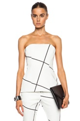 Josh Goot Corset Cotton Blend Top In White Checkered And Plaid